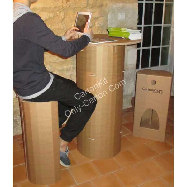 Tabouret haut en carton blanc mobilier en carton - Comment fabriquer un mange debout ...