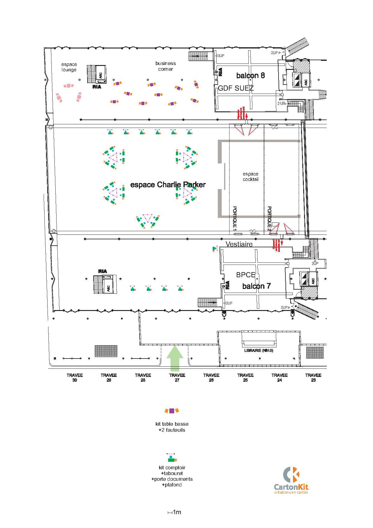 implantation et amenagement d' un salon exposition avec meubles en carton